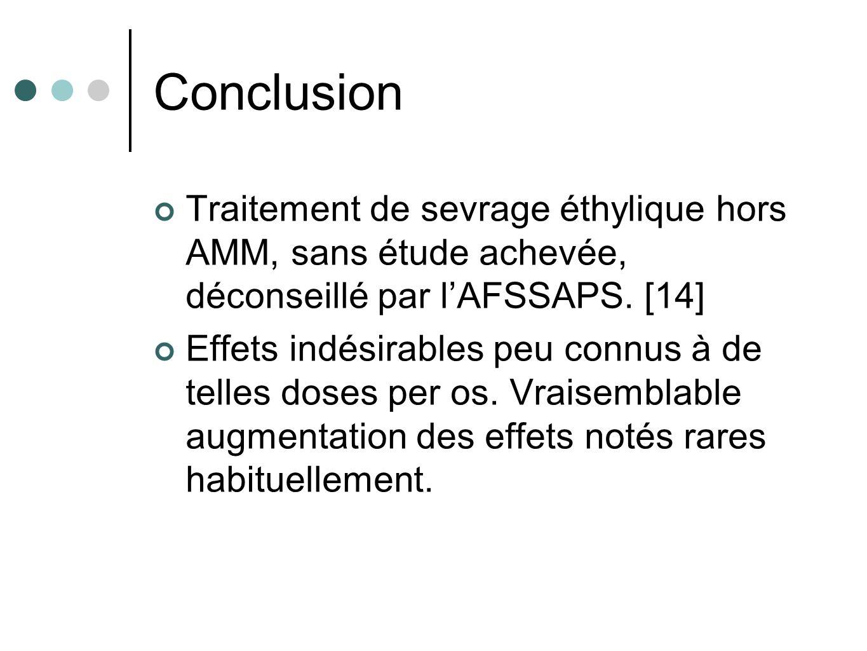 Conclusion Traitement de sevrage éthylique hors AMM, sans étude achevée, déconseillé par l'AFSSAPS. [14]
